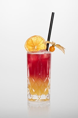 Sex on the beach: Vodka, Pfirsichlikör, Grenadine, Zitronensaft, Ananassaft, Cranberry Saft.