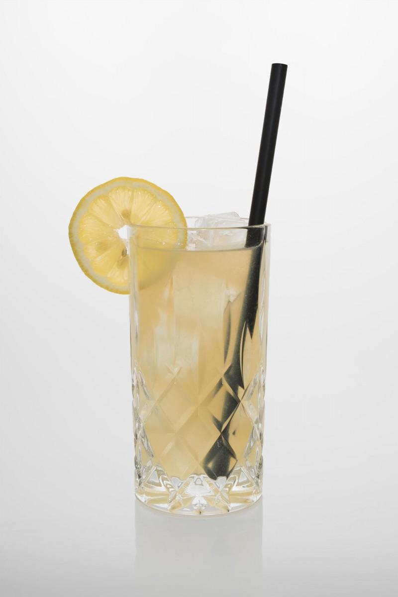 Gin Fizz: Gin, frischer Zitronensaft, Zuckersirup, Sprudelwasser.